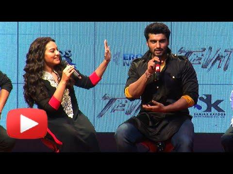 CAUGHT ON CAM : Arjun Kapoor Rags Sonakshi Sinha - TEVAR TRAILER LAUNCH