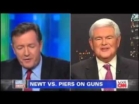 Newt Gingrich Takes on Piers Morgan on Gun Control - 1/24/13