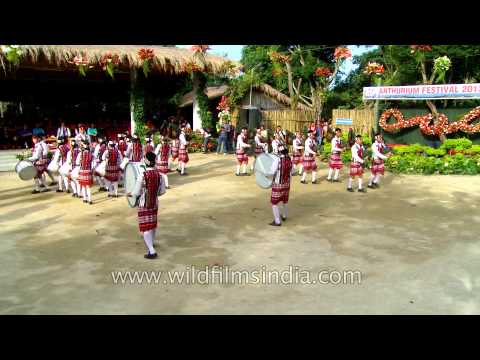 Mizoram Pipe band in full traditional gear at Anthurium Festival