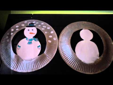 Bonhomme de neige avec assiette en carton youtube for Cuillere pour decorer les assiettes