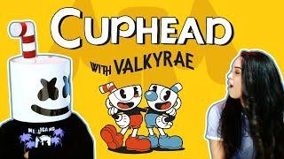 Battling Cuphead Bosses W Valkyrae Gaming With Marshmello