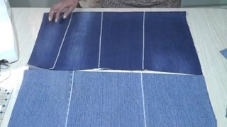 How to make flat fabric from old jeans / Seamless zig zag join technique