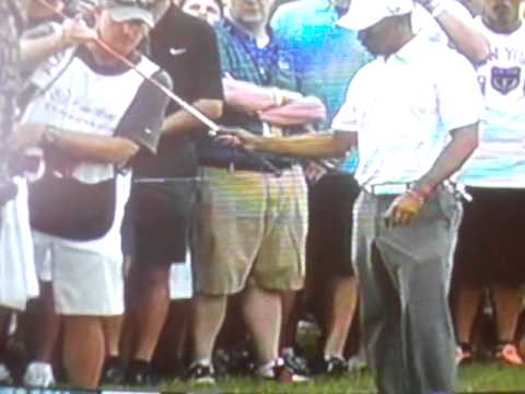 Tiger Woods hits Ball into Tree