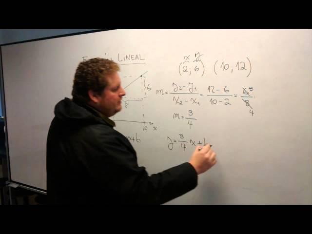 Función Lineal: Ecuación de la recta que pasa por dos puntos dados.