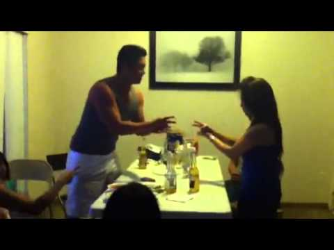 Drunk Hmong girl doing rock paper scissors