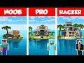 Minecraft NOOB Vs PRO Vs HACKER: MODERN ISLAND HOUSE BUILD CHALLENGE In Minecraft  Animation