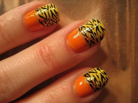 Halloween Tutorial #5: Candy Corn Inspired Zebra Nail Tutorial