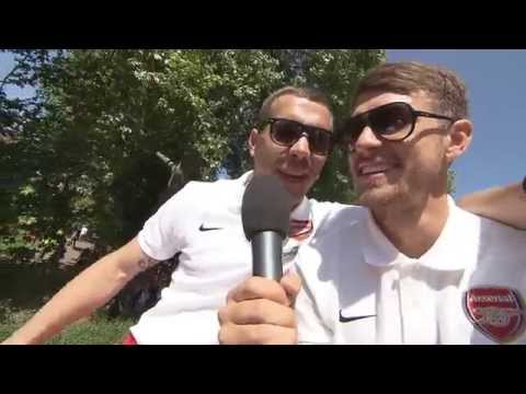 FUNNY Aaron Ramsey turns reporter to interview Lukas Podolski