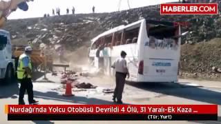Nurdağı'nda Yolcu Otobüsü Devrildi 4 Ölü, 31 Yaralı-Ek Kaza Yerinden Detay Görüntüler