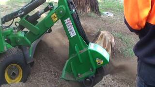 Red Roo Wireless Controller operating a Stump Grinder