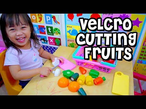 Toy Cutting Velcro Fruit Vegetables | Fruit Slicing Toy Playtime with Elise | Kids Play O'clock