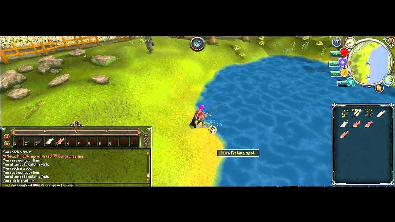 Eoc runescape fishing guide 1 99 members youtube for Runescape exp table 1 99