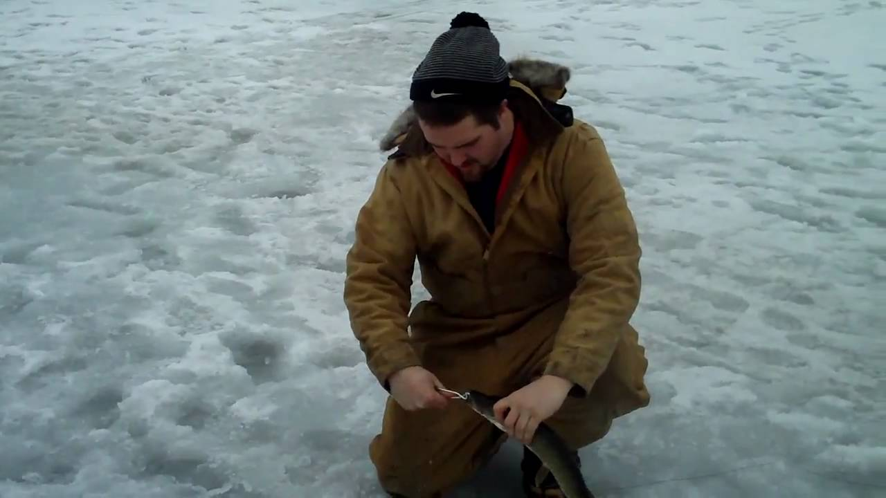 Ice fishing on wolf lake in youtube for Wolf lake fishing