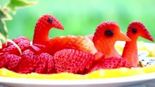 Fun Food For Kids | Cute Food Creations | Strawberry Carving & Garnish