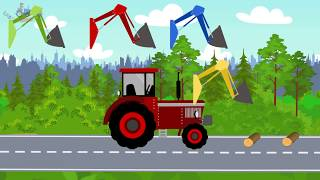 #Excavator and Truck | Tractor front loader | Street Vehicles | Learning colors RED - Video for kids