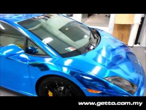 Chrome Aqua Blue Lamborghini Gallardo Wrap Youtube