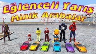Minik Arabalar ile Eğlenceli Yarış Örümcek Bebek Örümcek Çocuk Örümcek Adam Yarışıyor Joker Sunucu