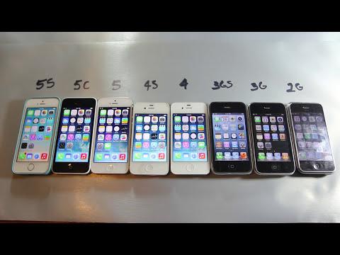 iPhone 5S vs 5C vs 5 vs 4S vs 4 vs 3Gs vs 3G vs 2G Speed Comparison Test