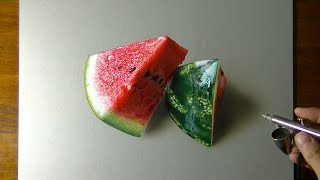 DRAWING WATERMELON - How to Draw 3D Art in less than 5 hours
