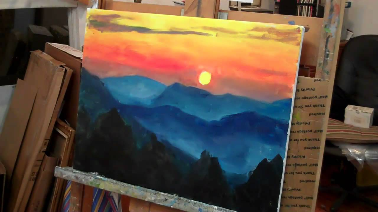 Paintings of Sunsets Mountains Paint a Mountain Sunset in