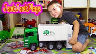 Garbage Trucks for Children - Bruder Garbage Truck Toy Unboxing - Jack Jack Playing Recycling