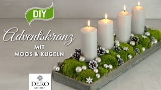 DIY: länglicher Adventskranz mit Moos & Kugeln [How to] Deko Kitchen