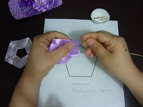 Tutorial  paso a paso flores en forma pentagono  en cinta raso para moños  -  No.105