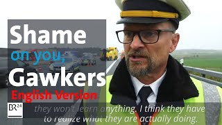 """Shame on you!"" Policeman belittles gawkers after fatal truck accident 