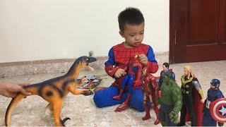 Kids play Toys Dinosaur vs Superheroes Spiderman Hulk Superman