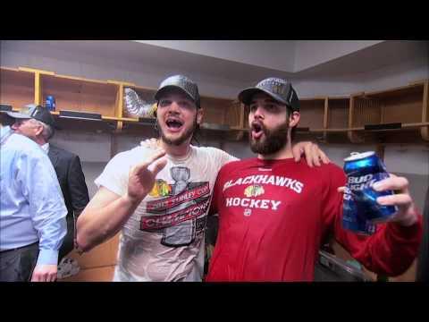 Chicago Blackhawks Stanley Cup Locker Room Celebration