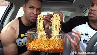 EXTREME SPICY CHEESE RAMEN NOODLE CHALLENGE | MUKBANG @hodgetwins
