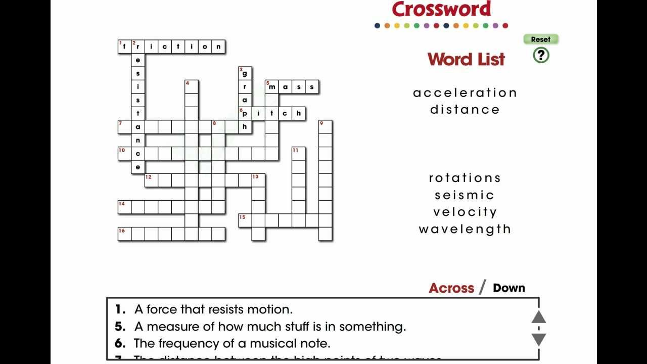Force and motion crossword answers