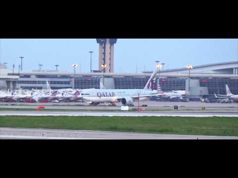 Qatar 777-200LR First Flight to Dallas/Fort Worth International Airport HD