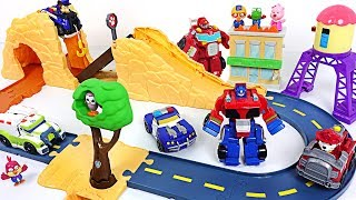 Pororo is in danger! Transformers Rescue Bots, Paw Patrol track set rescue operation! - DuDuPopTOY