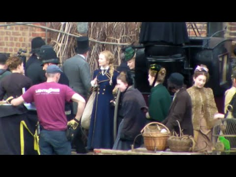 Mia Wasikowska Cast & Crew Filming Alice Through The Looking Glass On Location At Gloucester Docks