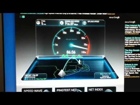 SpeedTest.com: 700 mbps down / 100 mbps up