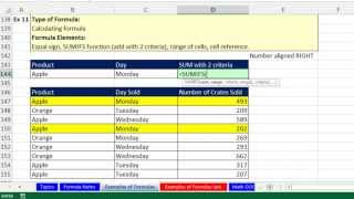 Highline Excel 2013 Class Video 02: Comprehensive Excel Formula Types & Elements Video 12 Examples