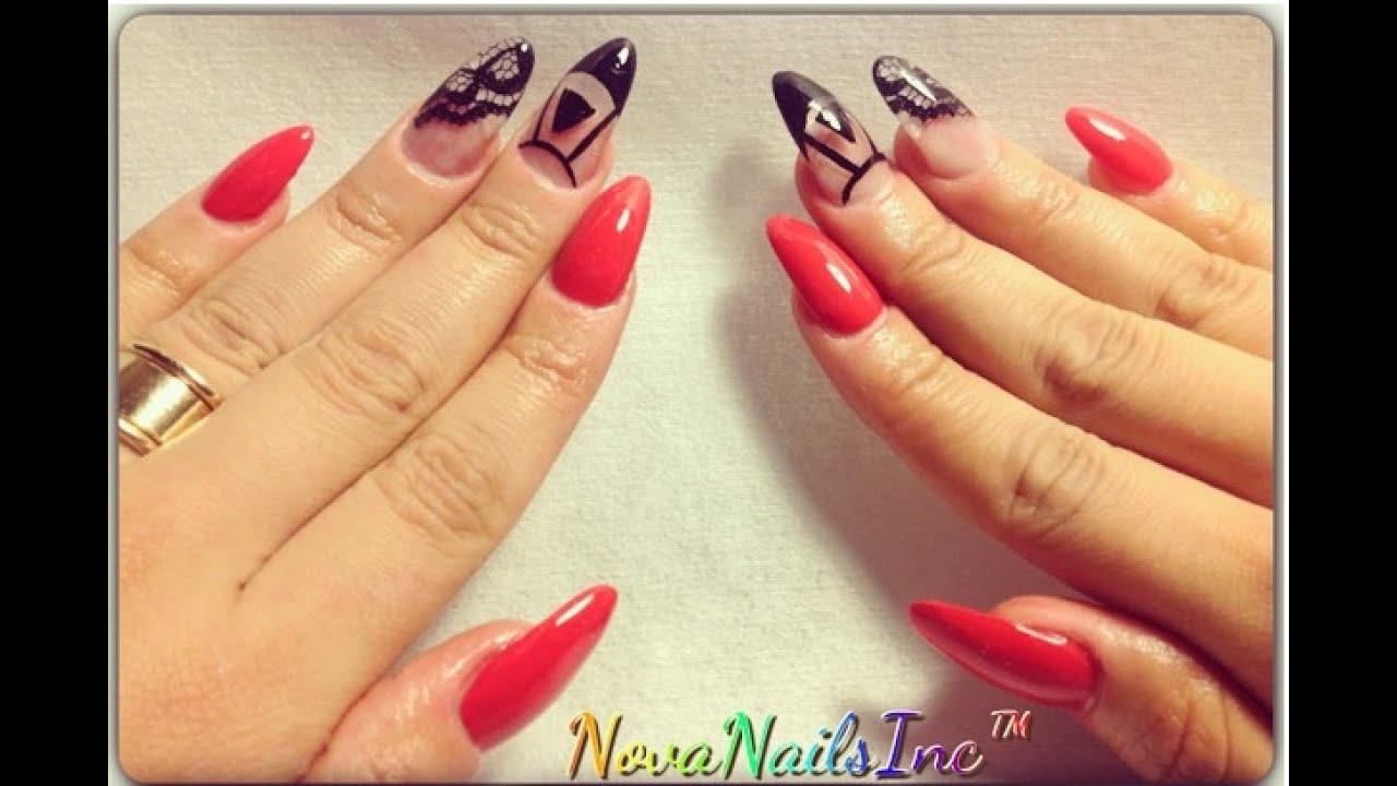 TUTORIAL: Uñas Ovaladas Rojas con Encaje ♥ - YouTube
