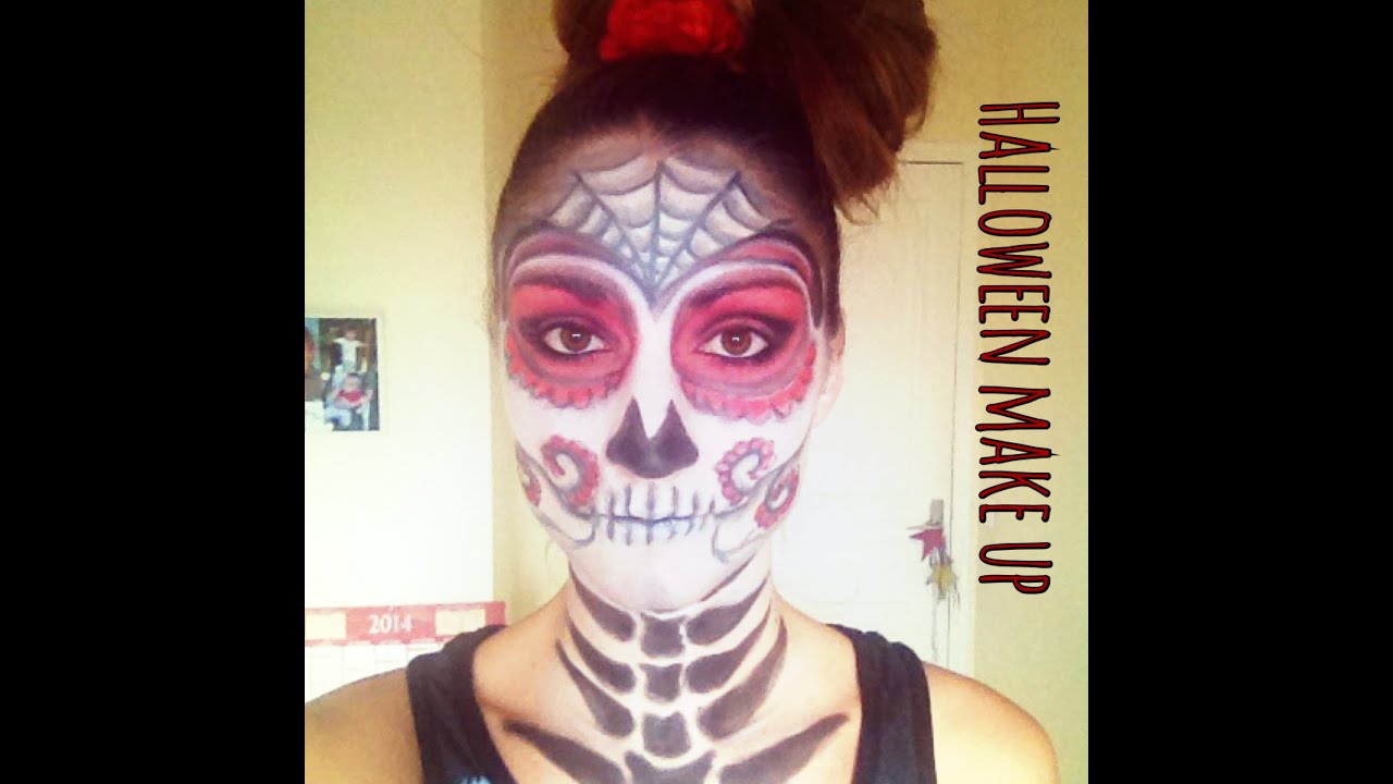 Make up halloween squelette mexicain youtube - Maquillage squelette mexicain ...