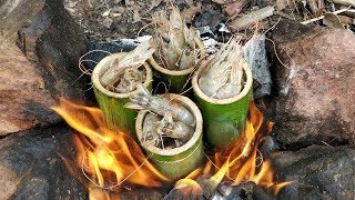 Creative Way to Cook Shrimp in Bamboo Tube