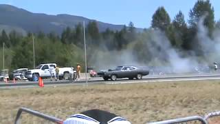 1970 Dodge Charger kicking ass on the drag strip