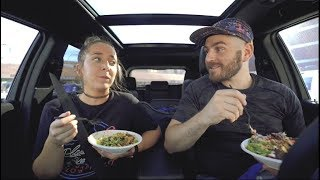 our car eating show (vegan poke)