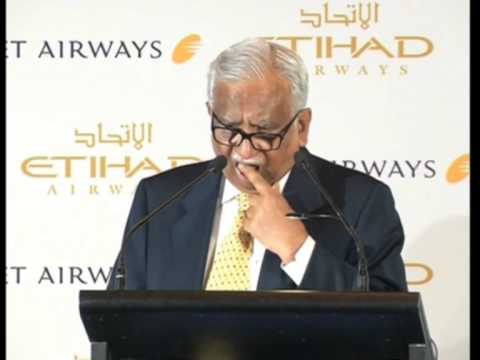 India's Jet Airways chairman announces first FDI in aviation with Etihad Airways of UAE