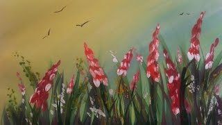 Картина за 3 минуты! Рисуем травку и цветы гуашью