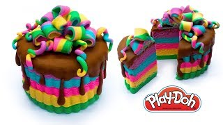 Dolls Food . Rainbow Cake. Play Doh for Kids and Beginners. DIY Video for Kids