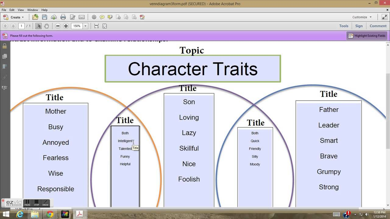 Character Traits Activity 1
