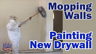 Mopping Walls Before Priming.  Painting New Wallboard or Drywall.  New construction painting.