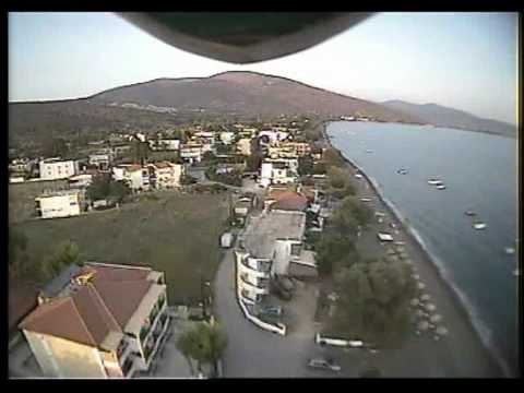 RC HELI FPV: HK-450 (TREX-450 clone) rc helicopter FPV flight over Candia Beach. Argolida.