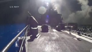 Airstrikes Against Islamic State Launched by U.S. Navy: Raw Video