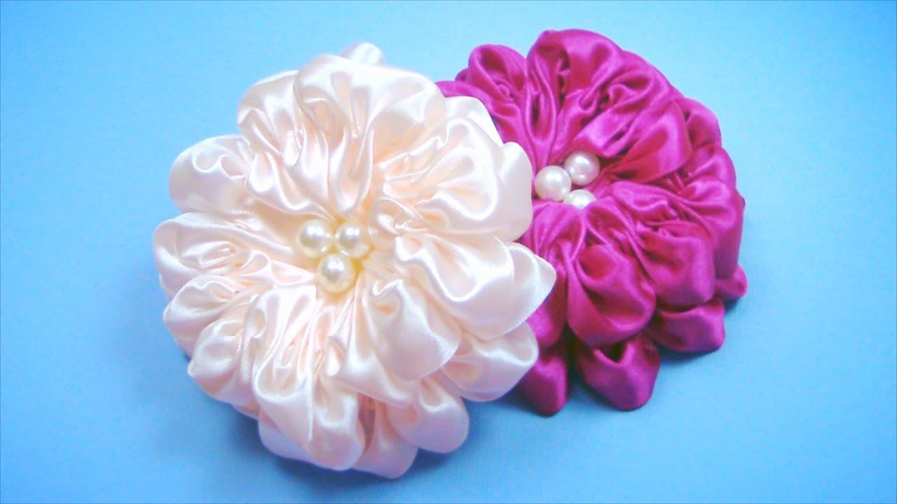 Цветочки из ленты своими руками мастер класс 298